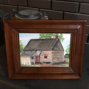 Rustic Watercolor Log Cabin Painting